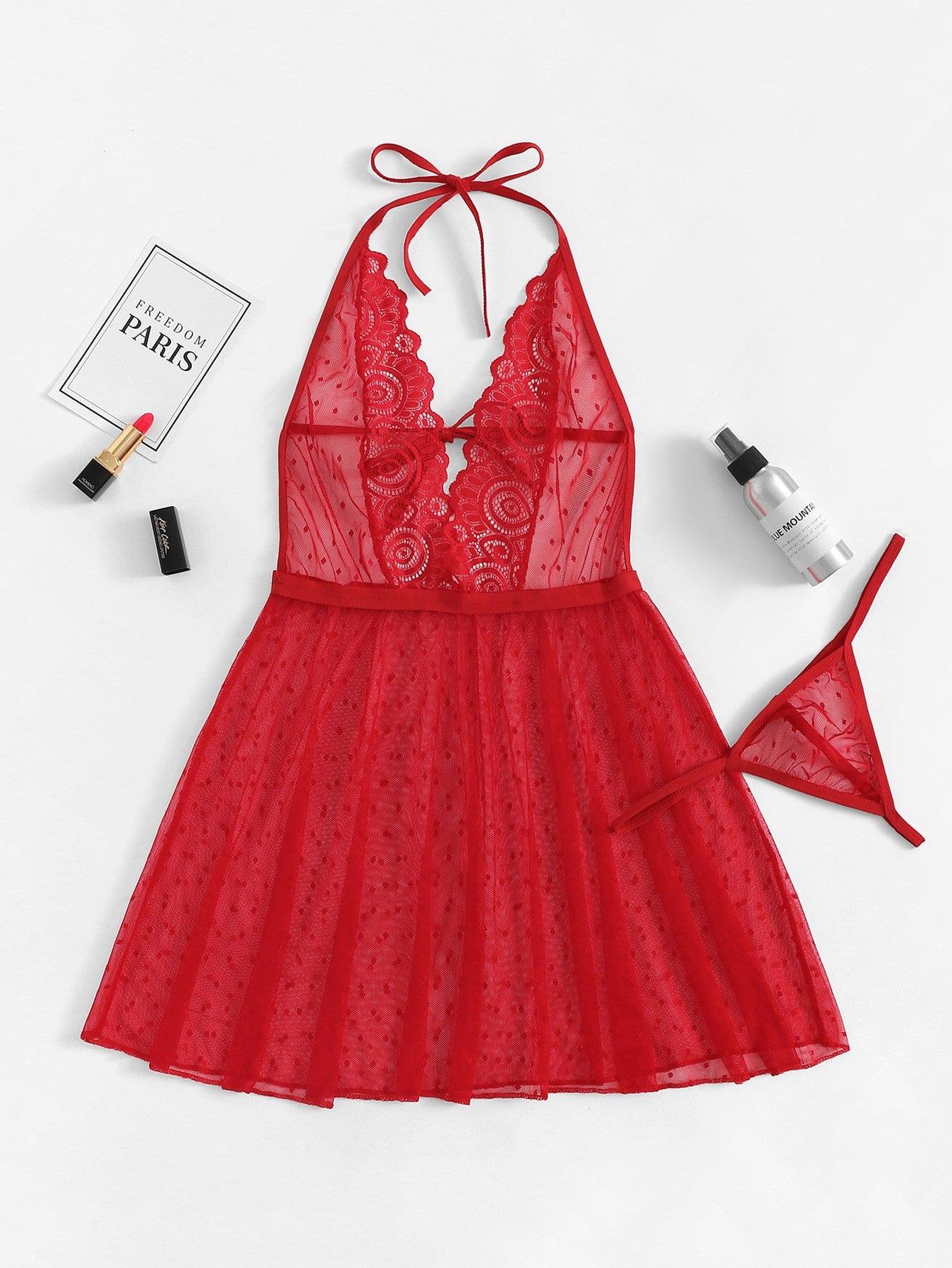 Купить Кружевное холтер платье пижамы с стрингом, null, SheIn