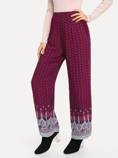 Plus Elastic Waist Tribal Print Pants