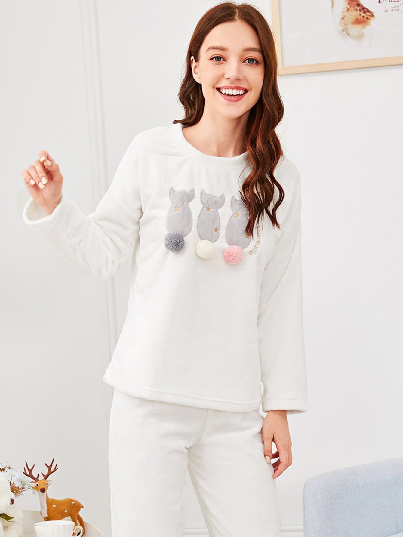 Купить Комплект пижамы с помпонами и принтом вышитого кота, Poly, SheIn