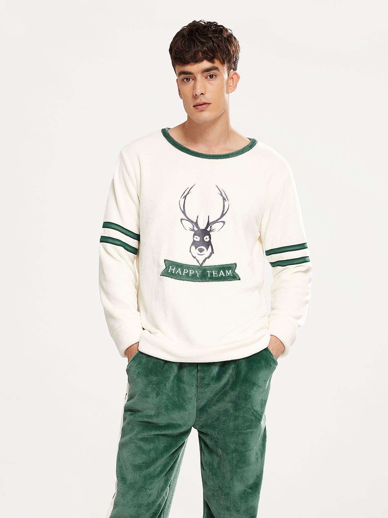 Фото - Мужский комплект пушистой пижамы с принтом вышитым текстовым и оленя от SheIn цвет многоцветный