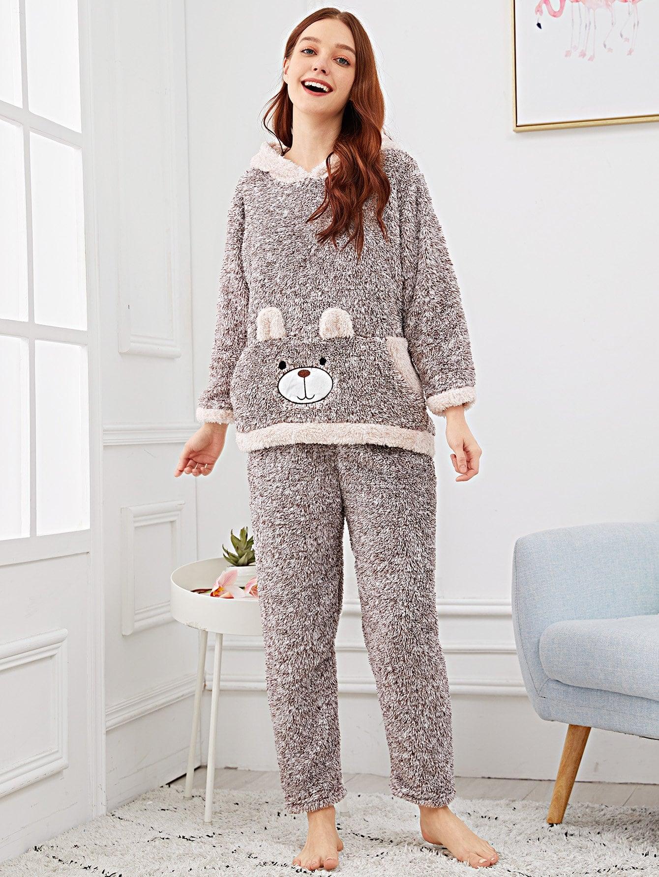 Купить Пушистая пижама с принтом вышитого медведя, Poly, SheIn