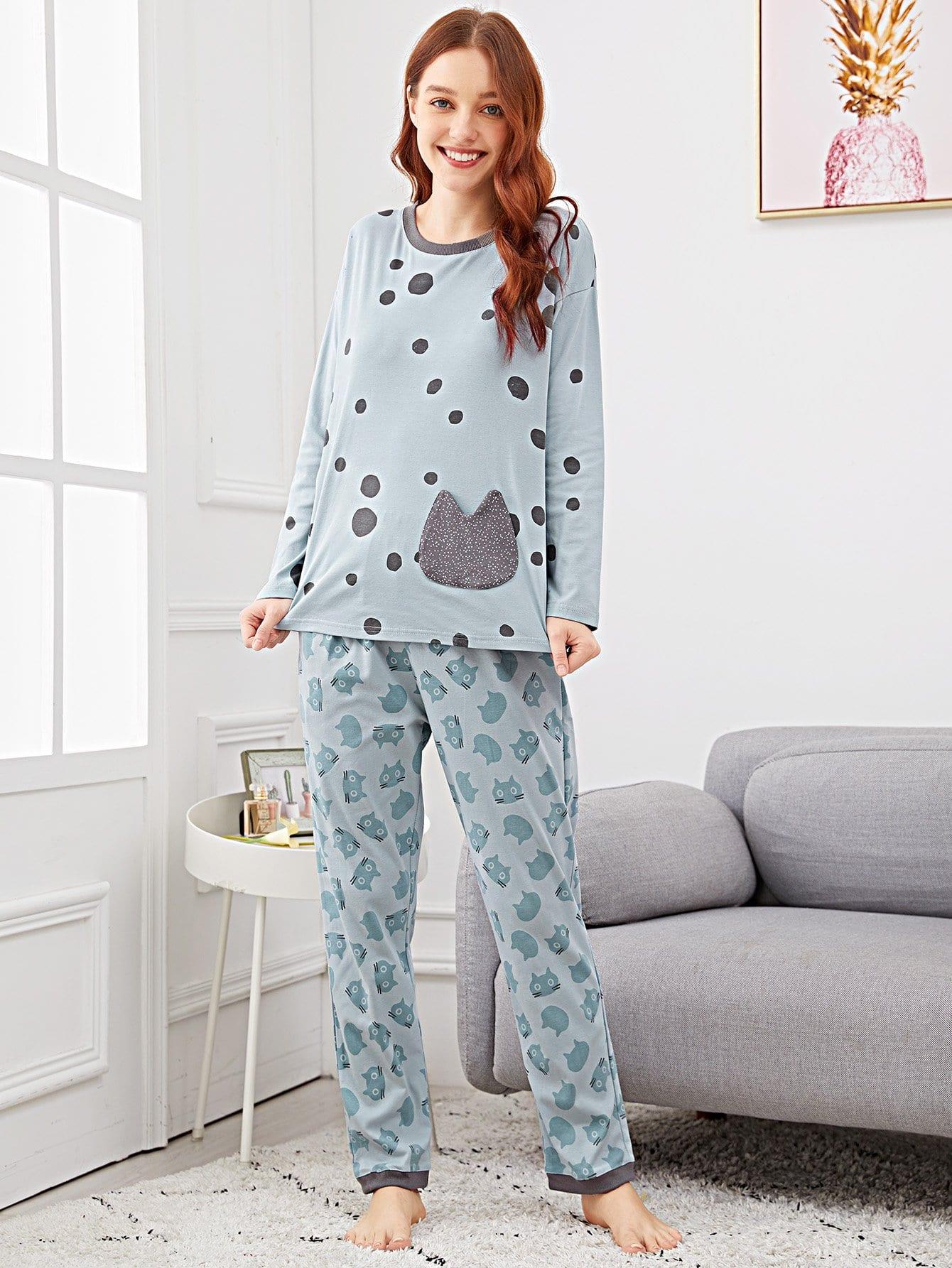 Фото - Пижама в горошек с принтом кота от SheIn цвет синие