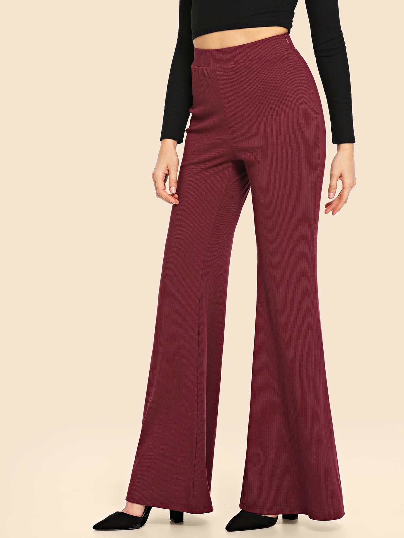 70s вязаные однотонные брюки клеш SheIn