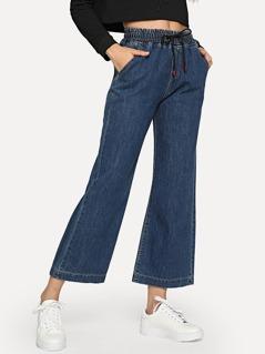 High Waist Flare Hem Jeans