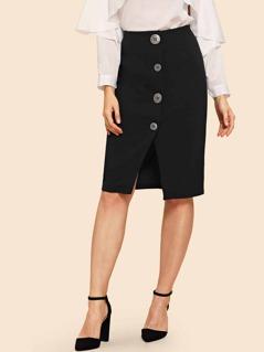 70s Button & Slit Front Skirt