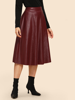 80s Wide Waistband Leather Look Skirt