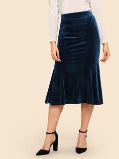 70s Solid Fishtail Hem Velvet Skirt