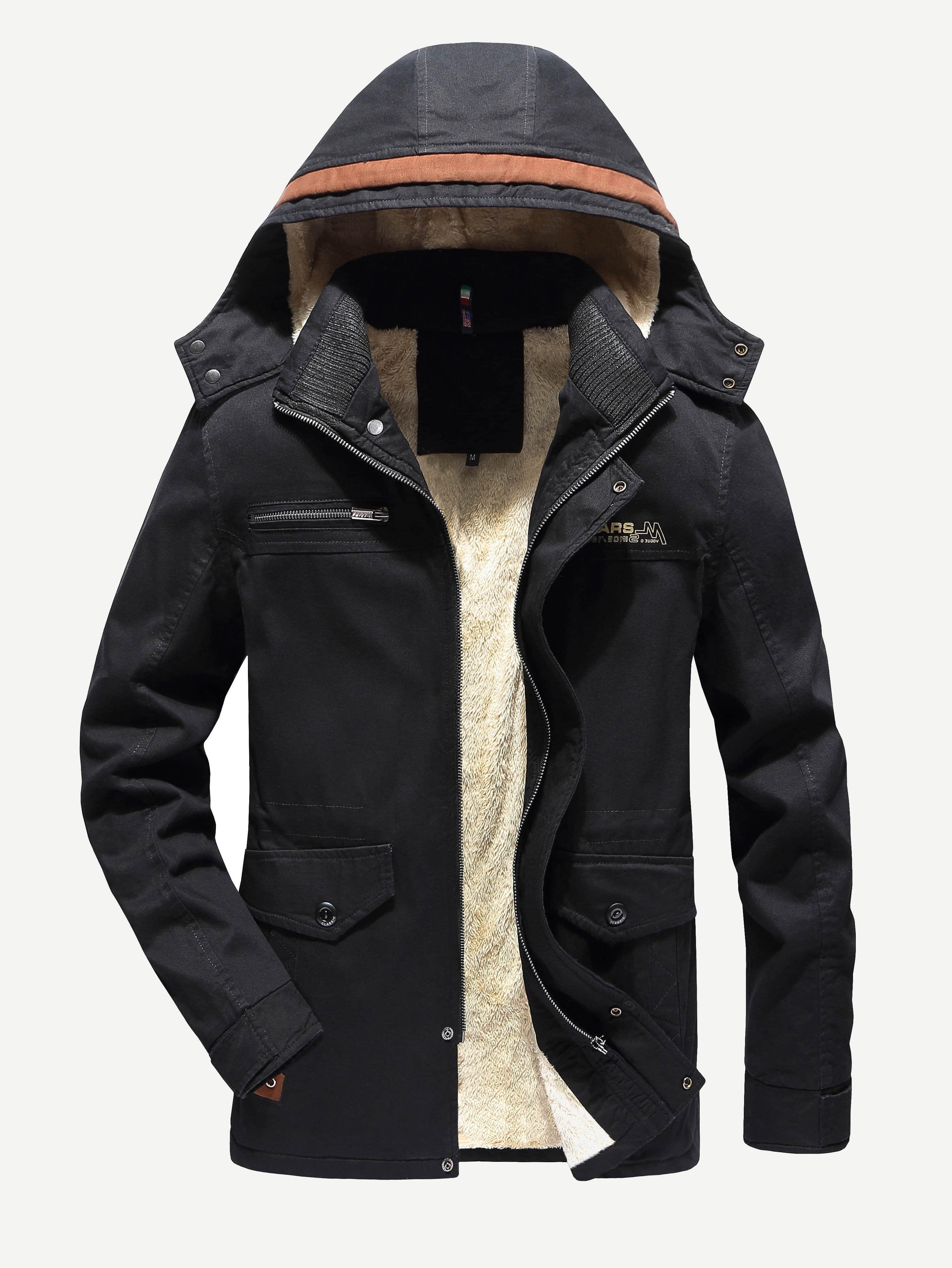 Фото - Мужское пальто с капюшоном и шерстяшной подкладкой от SheIn черного цвета