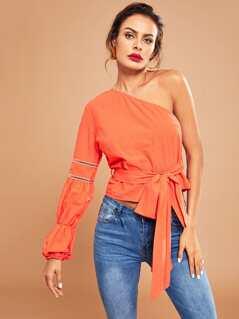 Neon Orange One Shoulder Knot Solid Top