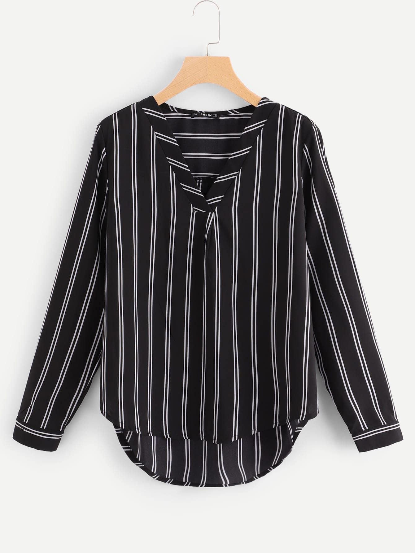 Купить Плюс размеры полосатая блузка с асимметричным низом, null, SheIn