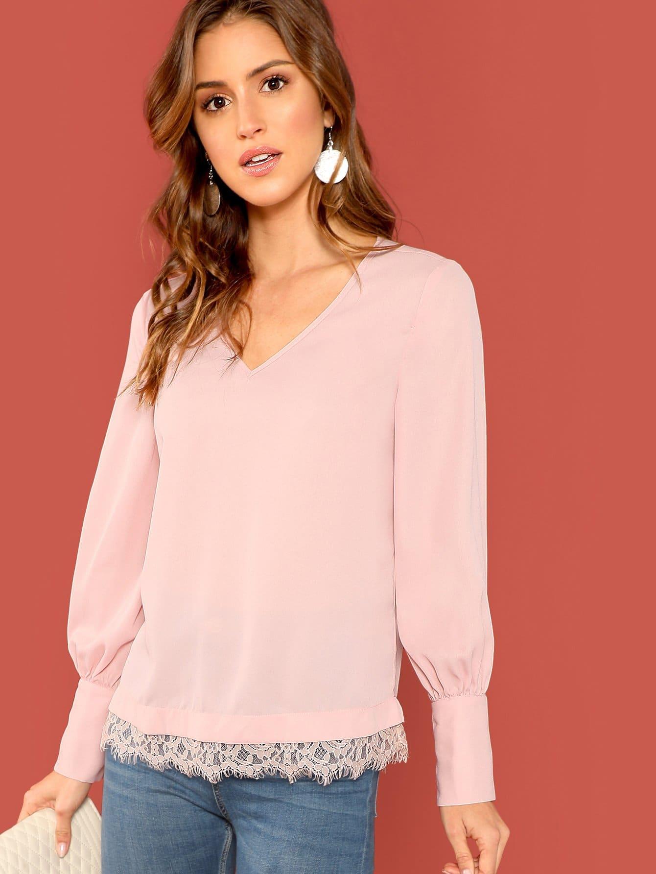 Купить Кружева отделкой блузка с v-образным вырезом, Gigi Paris, SheIn