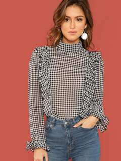 Mock-Neck Ruffle Gingham Top
