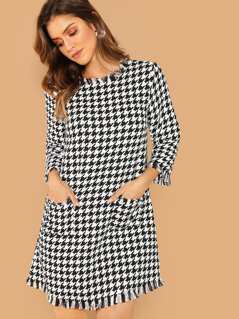 Pocket Front Fringe Detail Allover Print Dress