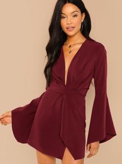Plunge Neck Bell Sleeve Dress
