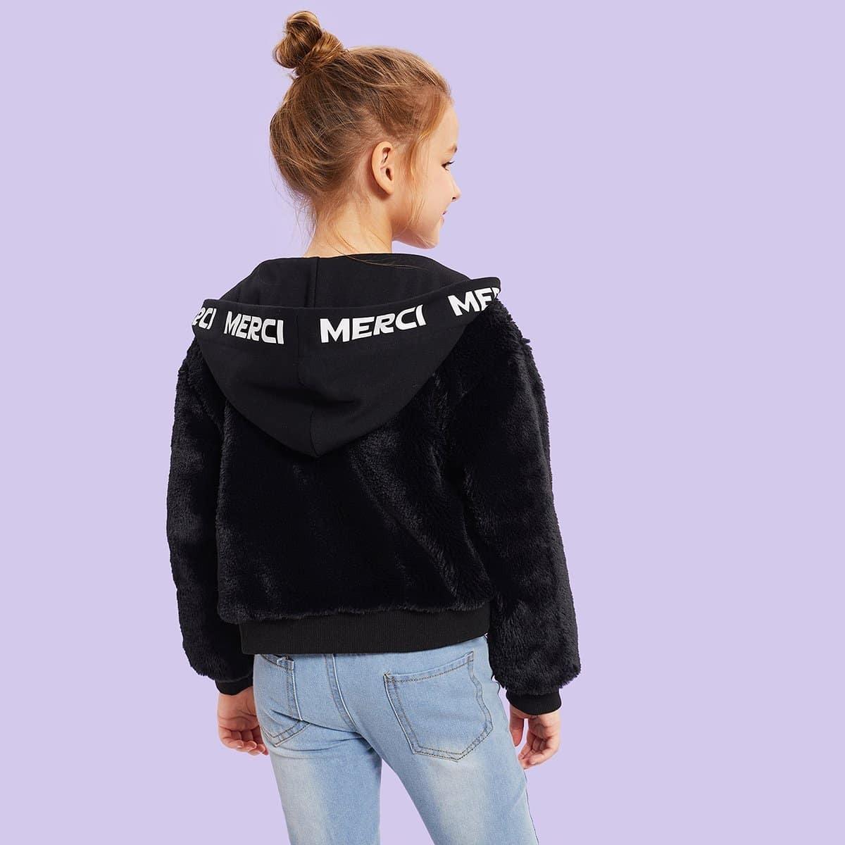 Для девочек тедди куртка с капюшоном на молнии от SHEIN