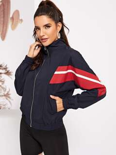 Zip Up Color Block Hoodie Jacket