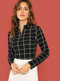 Half Ring Zip Grid Top