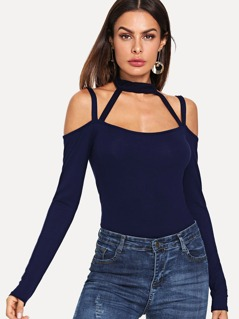 Halter Neck Textured Fitted Tee