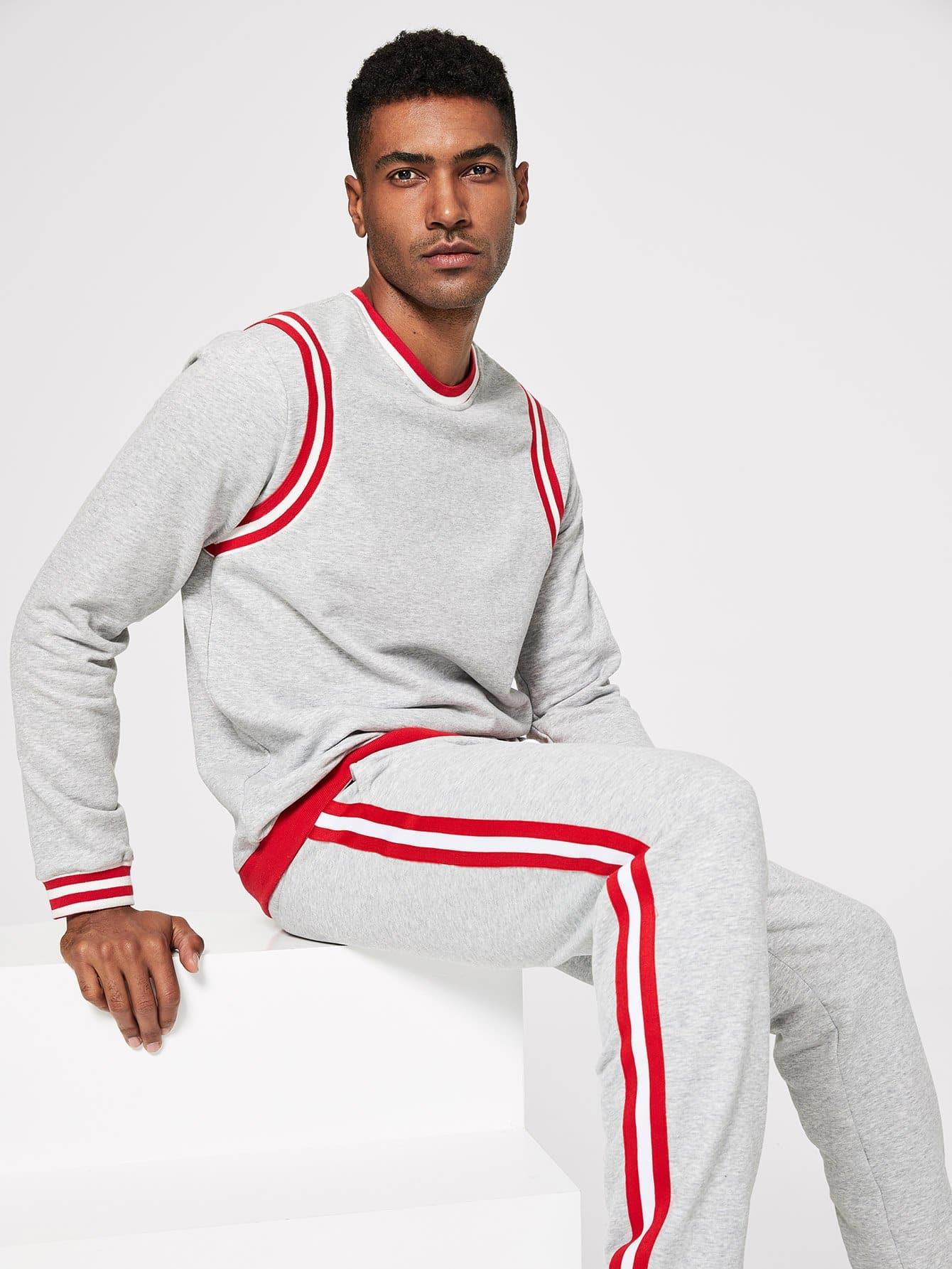 Для мужчин пуловер в полоску и брюки с эластичной талией от SheIn