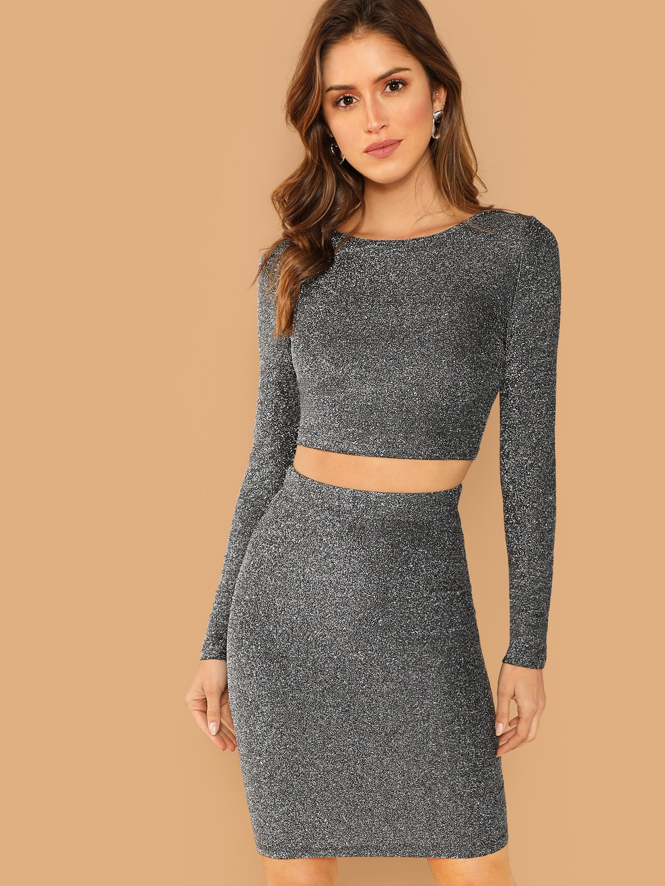 f01382a4f4 Buy Crop Form Fitting Glitter Top and Bodycon Skirt Set ...