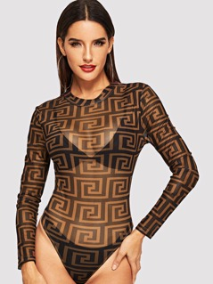 Mock-neck Greek Fret Mesh Bodysuit
