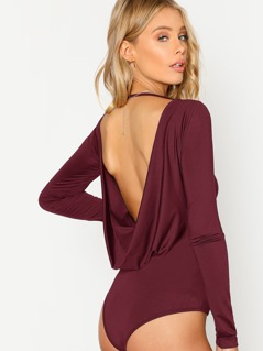Open Back Solid Skinny Bodysuit