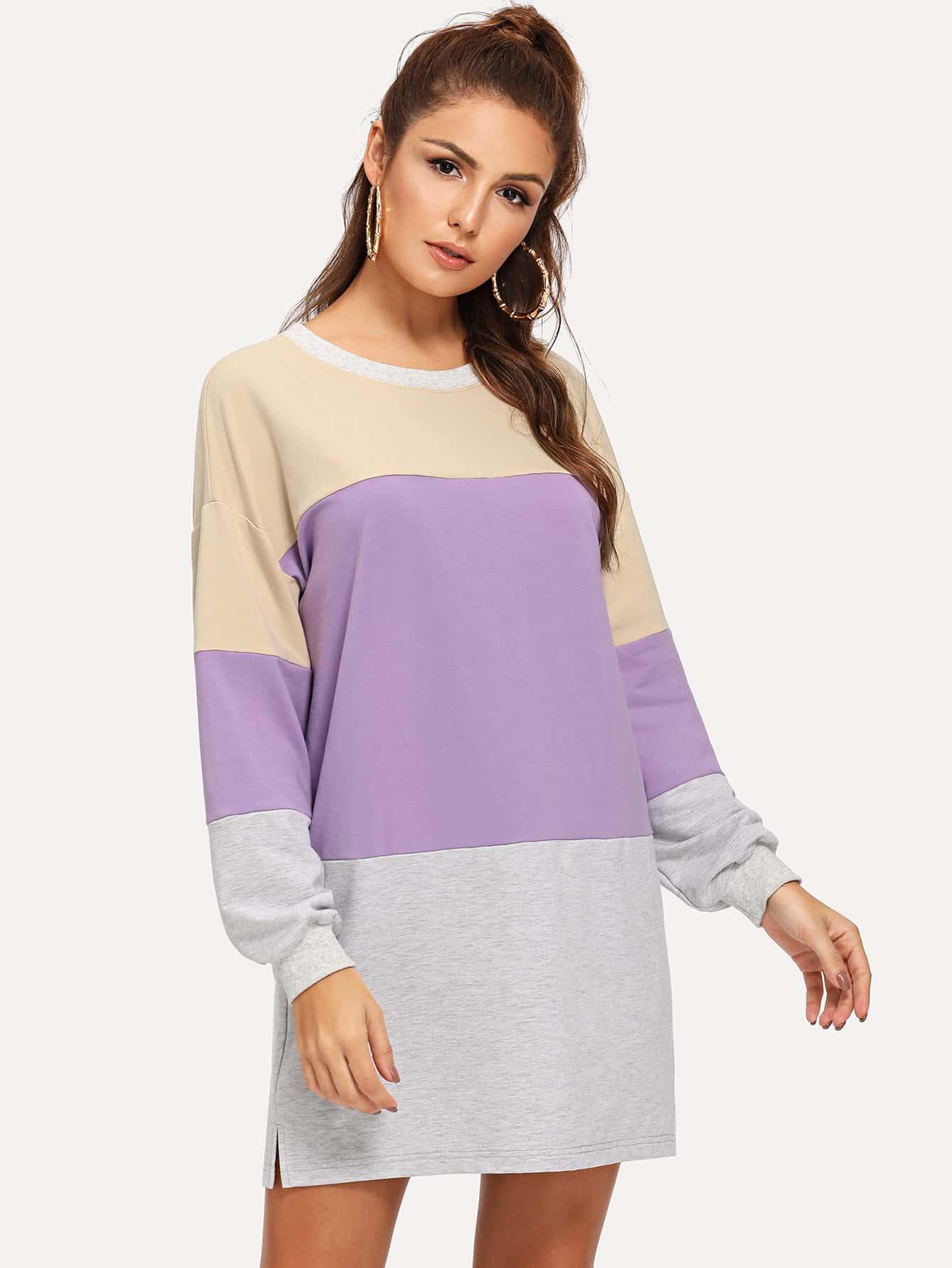 Купить Контрастное свитшот платье, Lisa A, SheIn