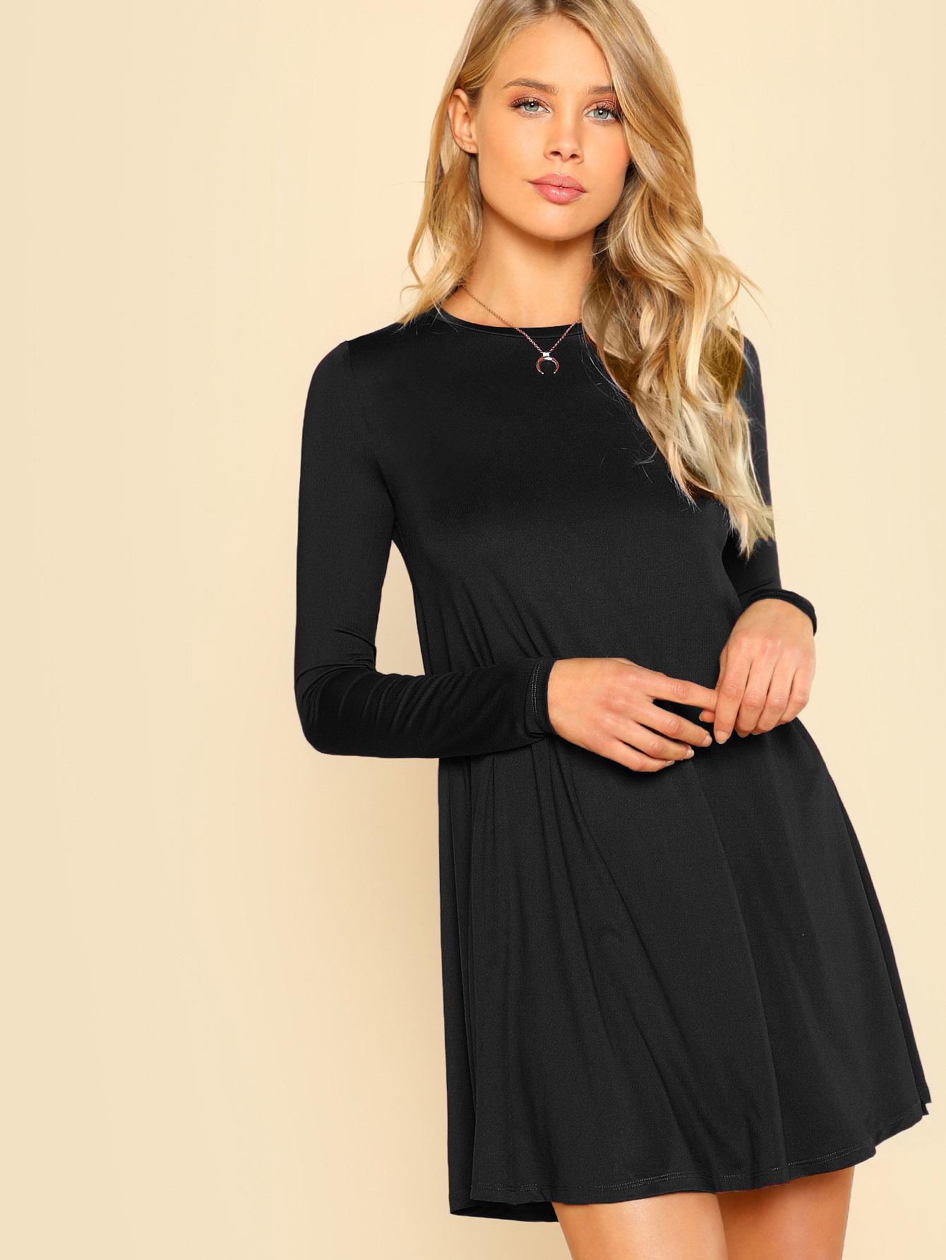 b77da85c98 Long Sleeve Solid Swing Dress -SheIn(Sheinside)