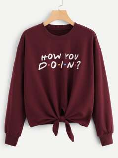 Knot Front Letter Print Pullover