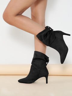 Fold Over Shaft Pointed Toe Stiletto Heel Boots