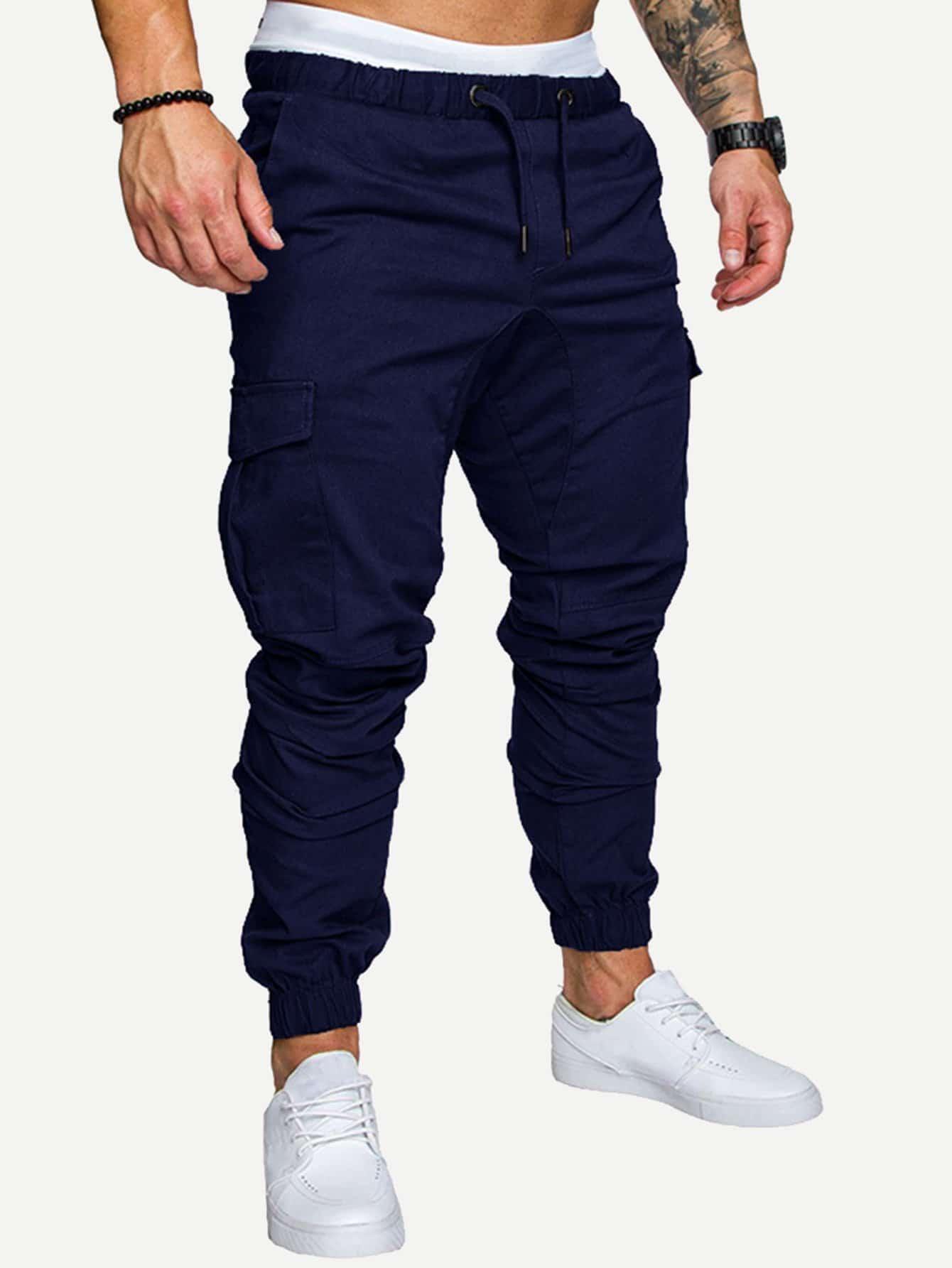 Купить Мужские однотонные брюки с эластичной талией, null, SheIn