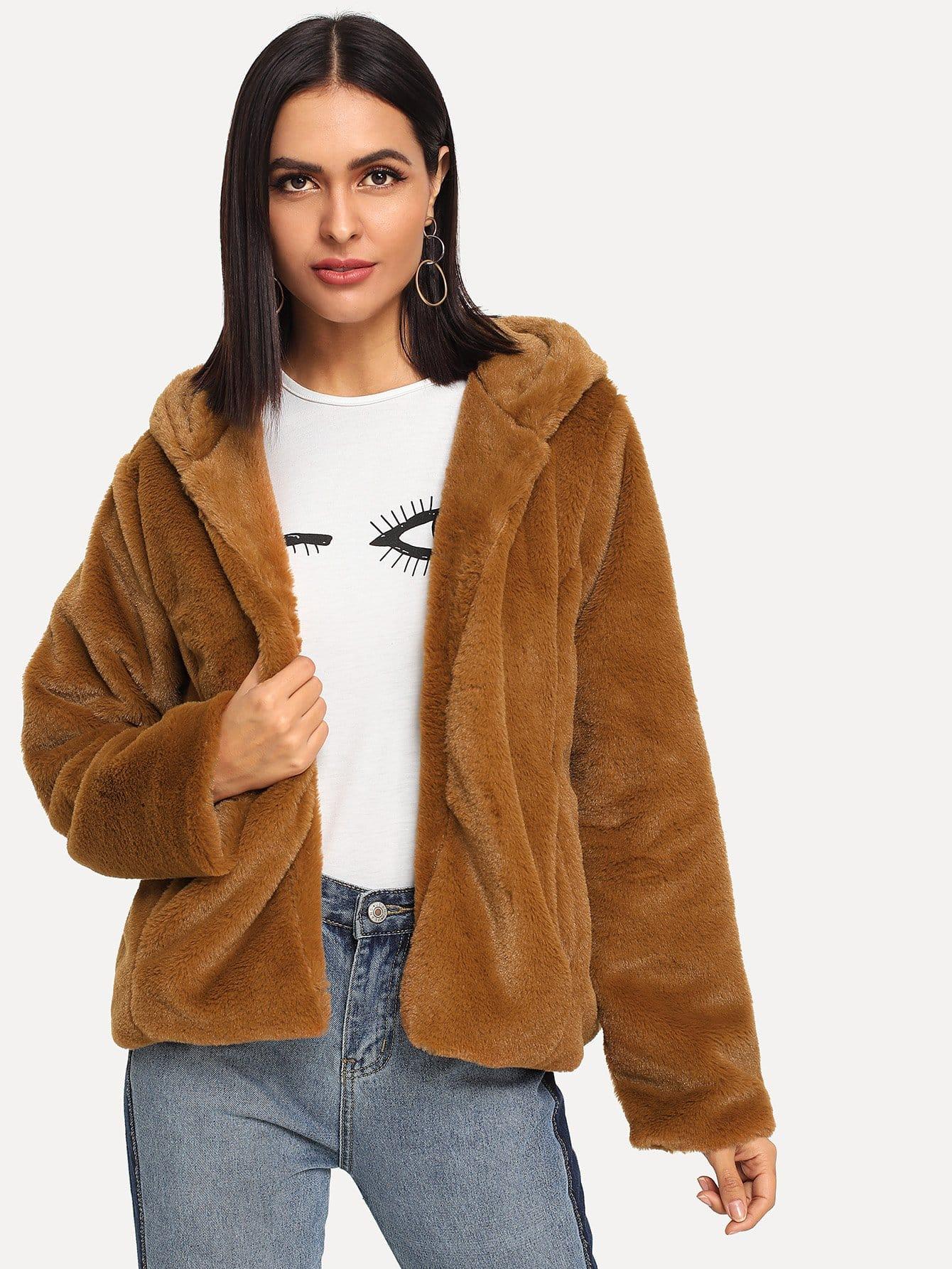 Купить Однотонное пальто тедди с капюшоном, Verob, SheIn