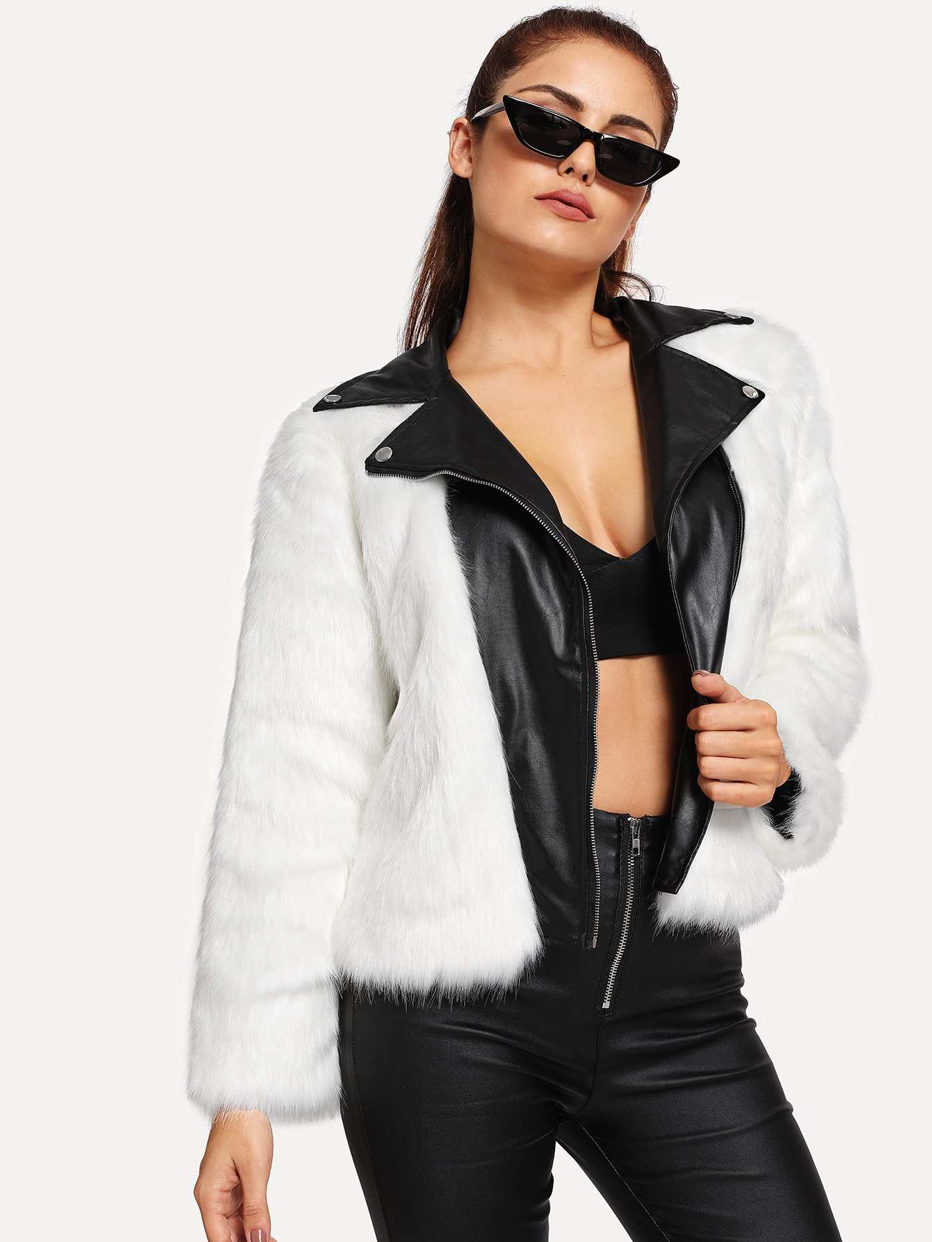 Купить Контрастое кожаное пальто из искусственных мехов, Lisa A, SheIn