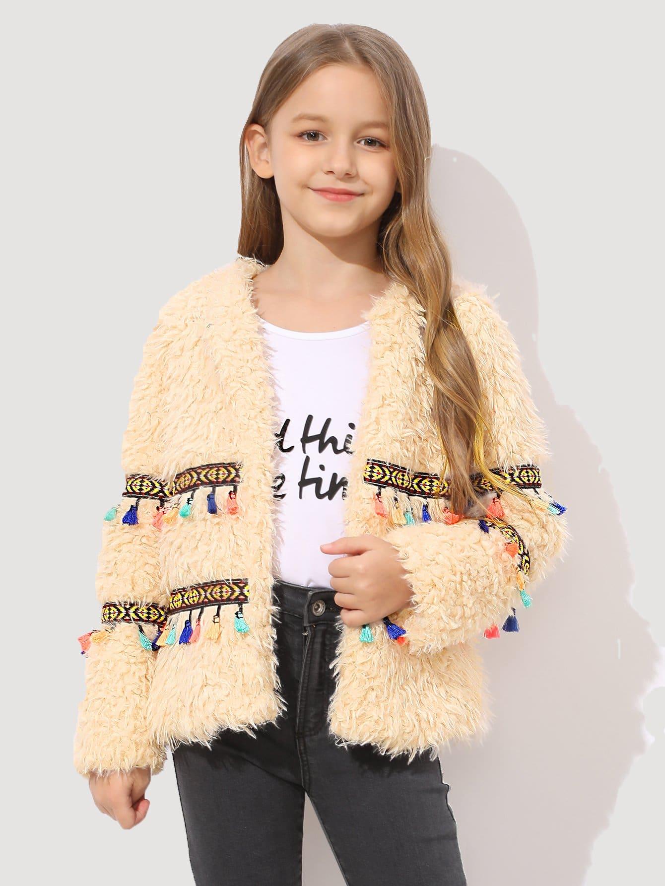 Купить Для девочек пальто из искусственного меха с кисточками, Sashab, SheIn