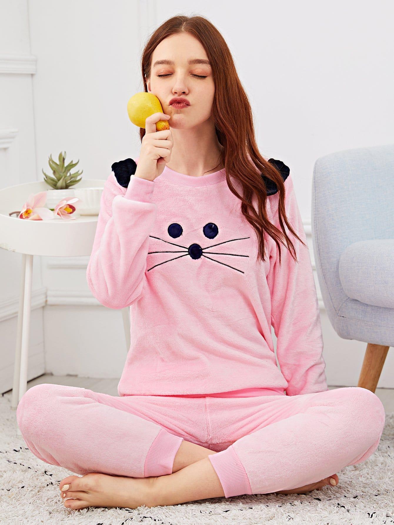 Купить Пушистая пижама с принтом вышитого кота, Poly, SheIn