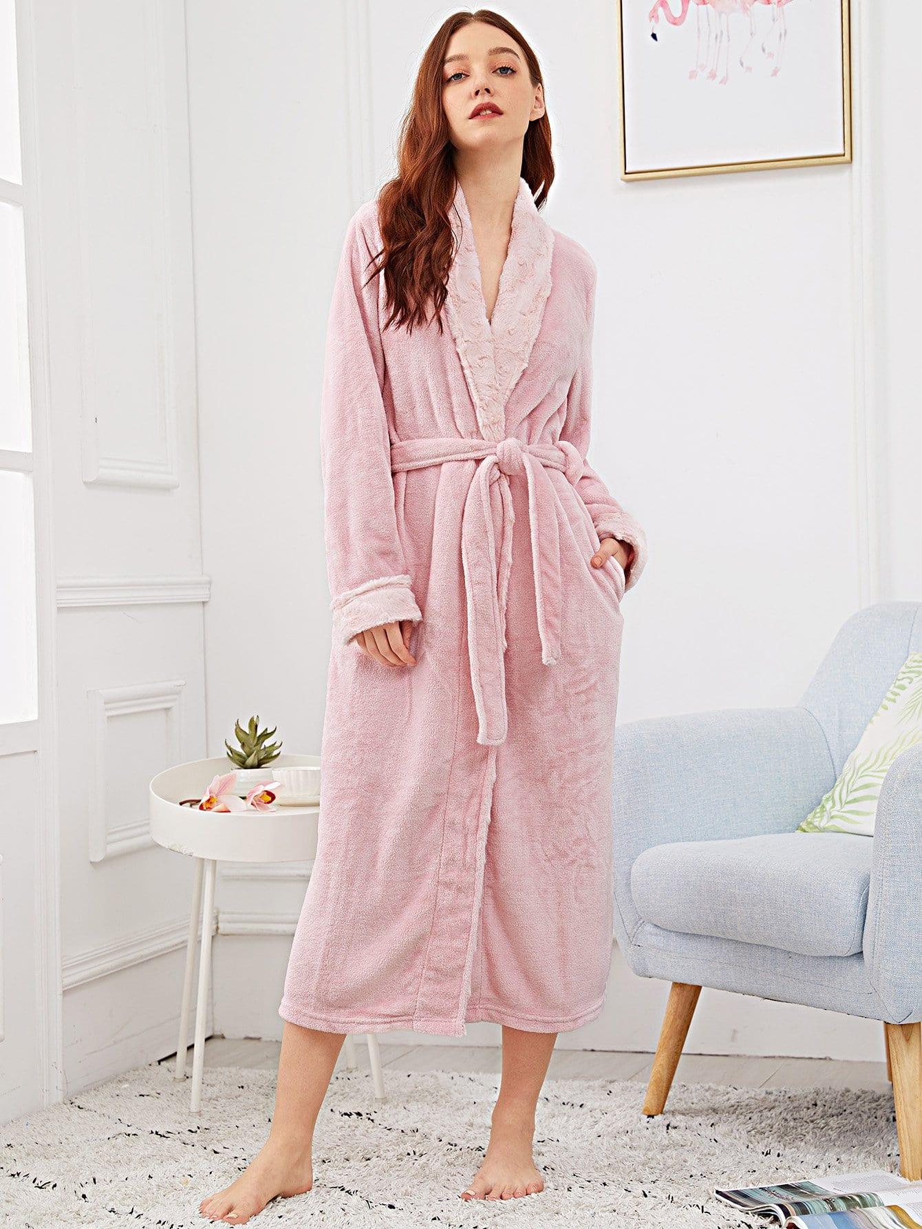 Купить Пушистый халат с поясом, Poly, SheIn
