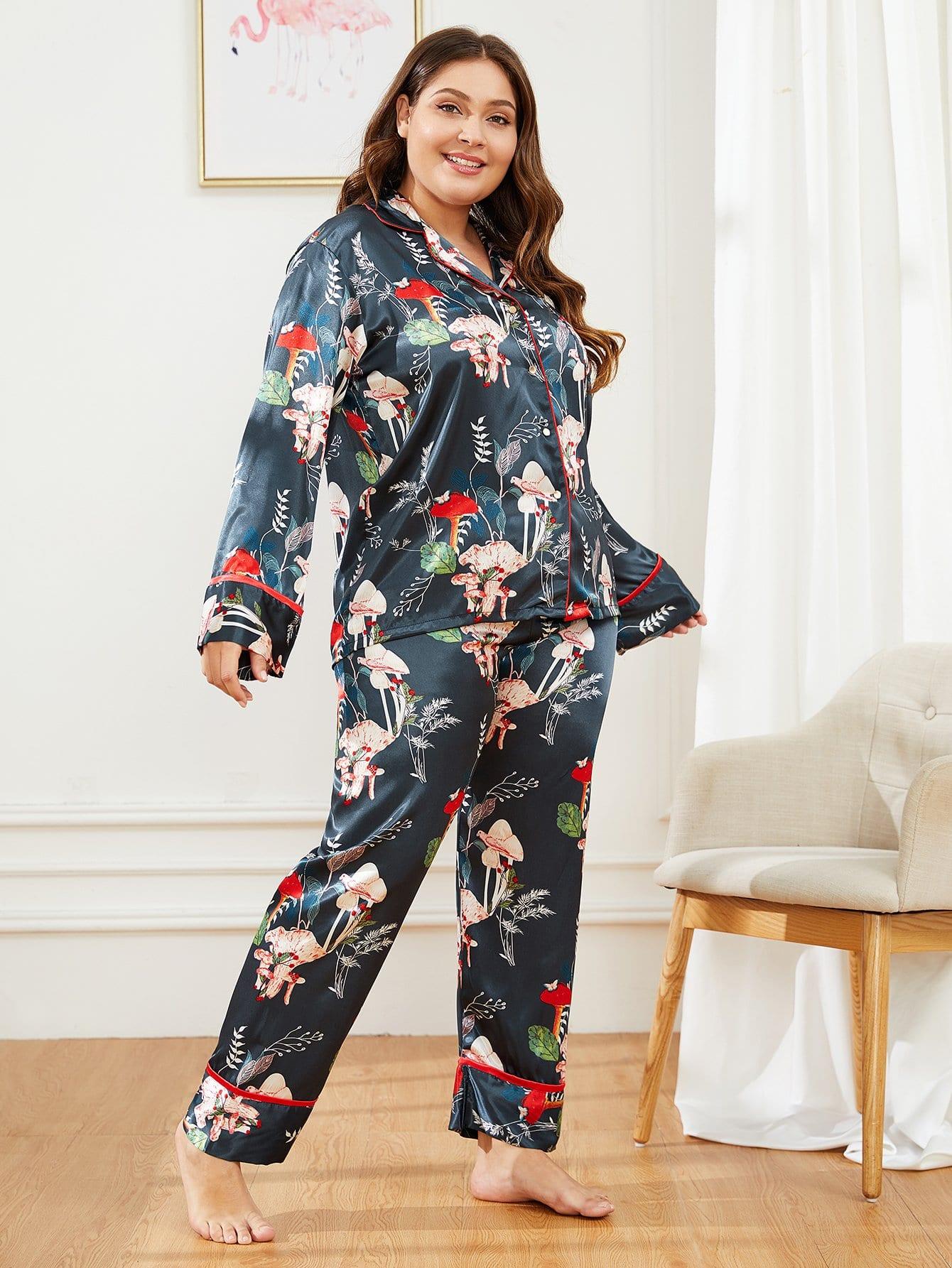 Купить Размера плюс пижама с принтом графическим, Carol, SheIn