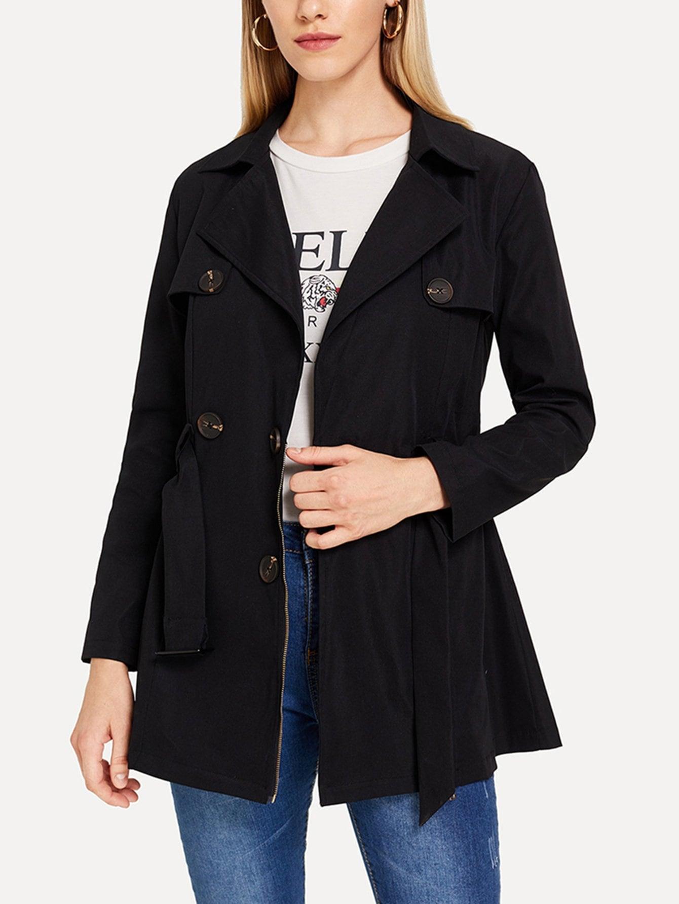 Фото - Двубортное пальто от SheIn черного цвета