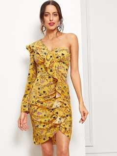 One Shoulder Flounce Detail Botanical Dress