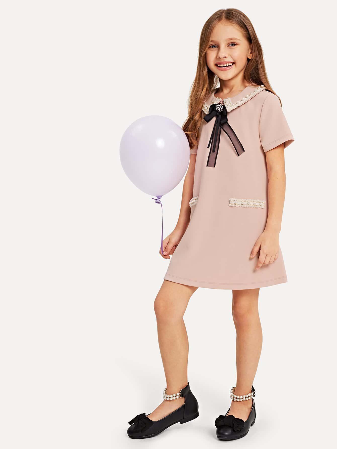 Купить Для девочек платье на молнии сзади с бисерами, Anna C, SheIn