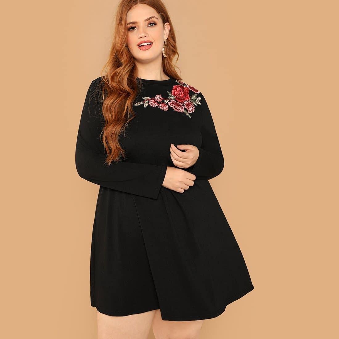 Zwart Casual Bloemen Grote maten jurken Borduurwerk