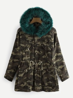 Camo Parka Coat With Faux Fur Trim Hood
