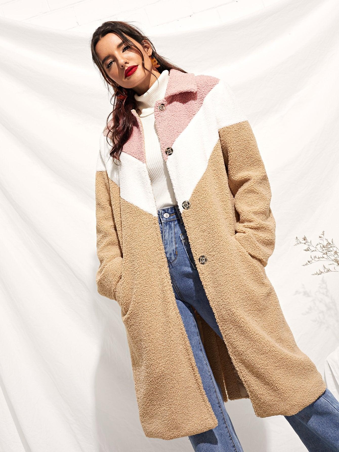 Купить Контрастное пальто на пуговицах, Juliana, SheIn