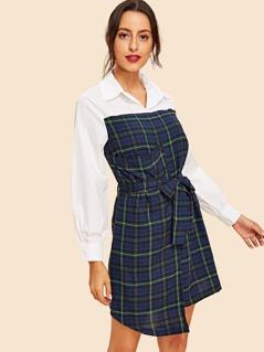 Button Detail Asymmetrical Hem Plaid Dress
