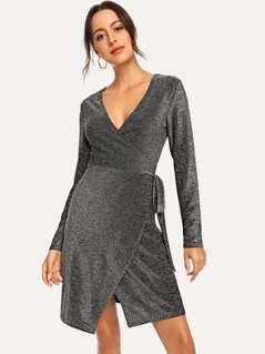 Knot Side Glitter Wrap Dress