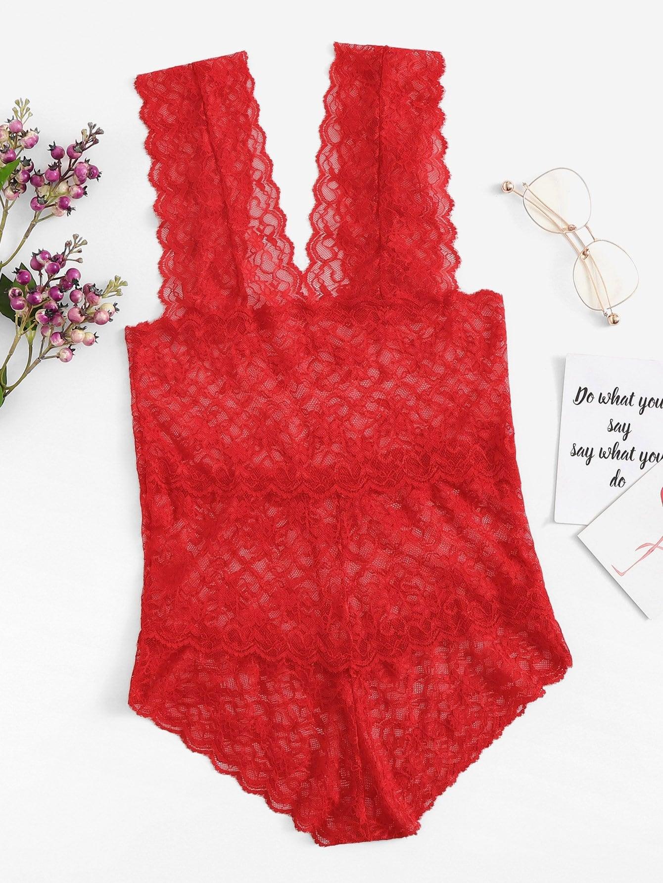 Красный с фестонами Со цветочками Сексуальные Белье от SheIn