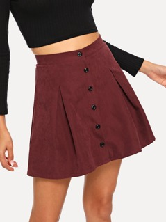 Button Front Pleated Suede Skirt