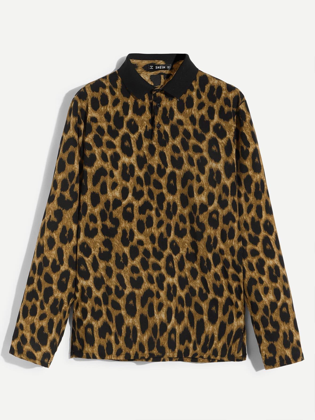 Купить Мужская леопардовая поло рубашка с пуговицами, null, SheIn
