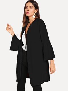 Flounce Sleeve Open Front Coat