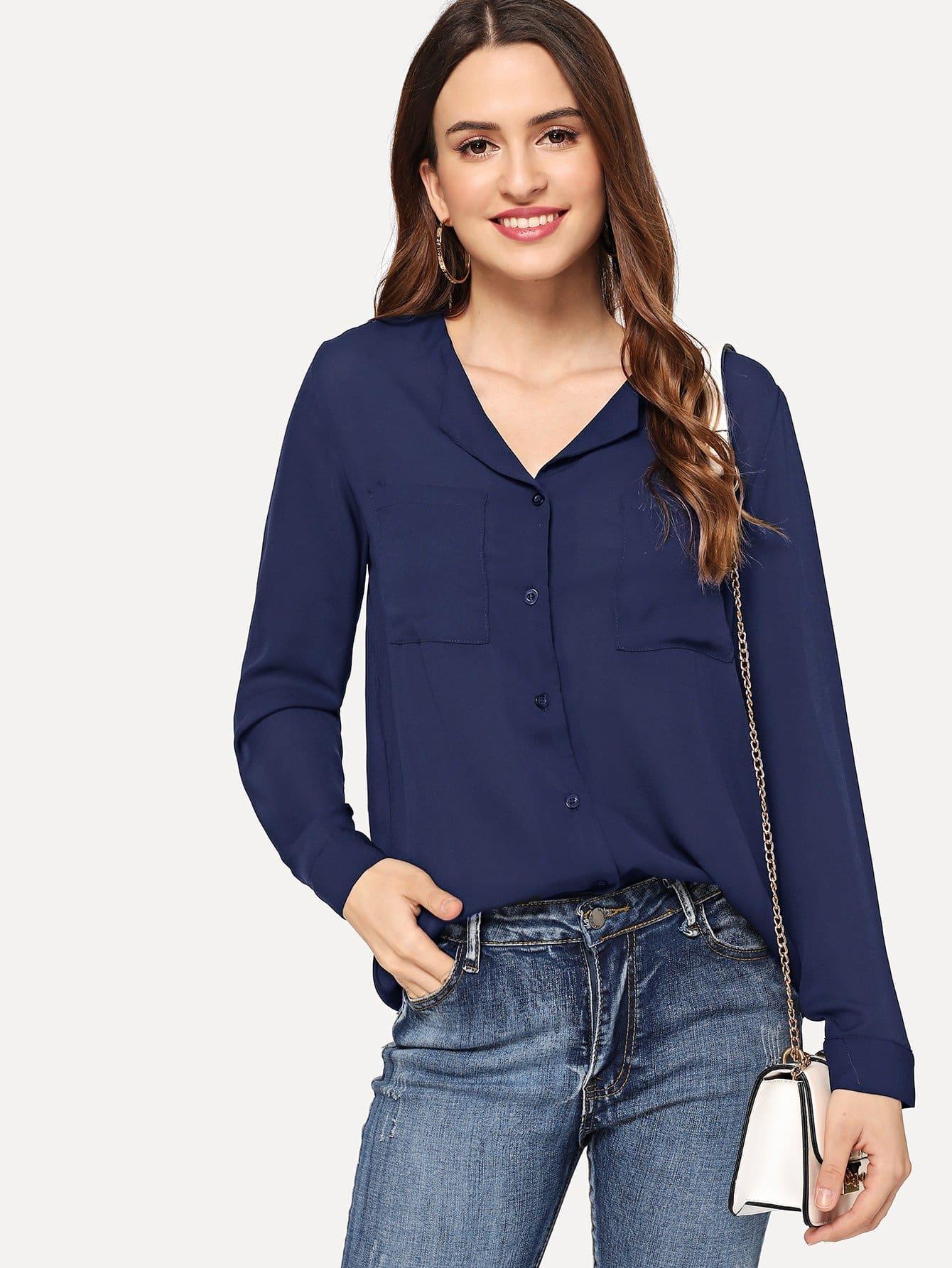 Купить Рубашка шифона с воротником Revere и с карманами, Jana, SheIn